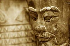 guerrier de terre cuite de sculpture en reproduction Image stock
