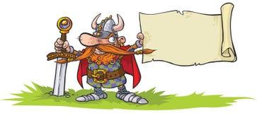 Guerrier de Viking avec la bannière Photo libre de droits
