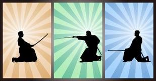 Guerrier et épéiste japonais, samouraï Images stock
