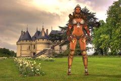 Guerrier et château médiévaux Images stock