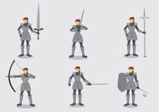 Guerrier féminin dans Armor Suit et des armes illustration de vecteur