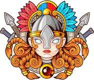 Guerrier féminin Valkyrie, mythologie scandinave Images stock