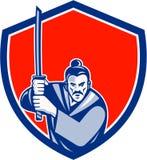 Guerrier samouraï Katana Sword Shield Retro Photos libres de droits