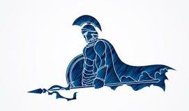 Guerrier spartiate avec la lance et le bouclier illustration libre de droits