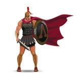 Guerrier spartiate fâché avec l'armure et le bouclier de hoplite Images libres de droits