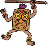 Guerrier tribal avec la bande dessinée de masque et de lance illustration libre de droits