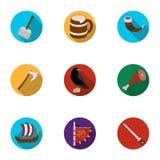 Guerrieri antichi dei Vichingo sulla nave Attrezzatura e simboli dei Vichingo Icona di Vichingo nella raccolta dell'insieme sul p Immagine Stock Libera da Diritti