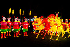 Guerrieri cinesi e lanterne dei cavalli Fotografia Stock Libera da Diritti