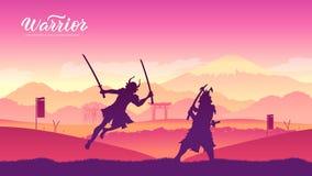 Guerrieri del Giappone con le arti marziali della spada royalty illustrazione gratis