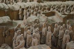 Guerrieri di terracotta in Xian Fotografia Stock Libera da Diritti