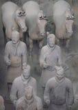 Guerrieri e cavalli di terracotta in Xian Fotografie Stock Libere da Diritti
