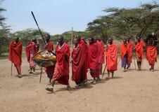 Guerrieri masai della tribù Fotografie Stock Libere da Diritti