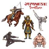 Guerrieri o combattenti giapponesi di schizzo di arti marziali illustrazione di stock