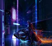 Guerriero al neon di fantascienza sulla bici illustrazione di stock