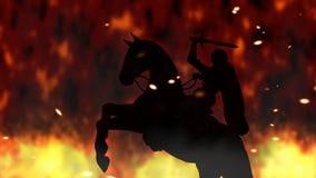 Guerriero antico su un'illustrazione d'elevazione di Digital del cavallo Fotografie Stock