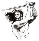 Guerriero con una spada Fotografia Stock Libera da Diritti
