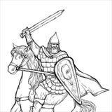 Guerriero con una spada in armatura e casco sul cavallo Immagini Stock
