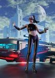Guerriero del cyborg con la pistola in una città futuristica illustrazione vettoriale