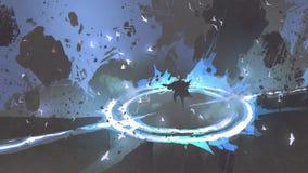 Guerriero del mago che lancia un incantesimo con luce blu illustrazione vettoriale