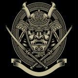 Guerriero del samurai con la spada di katana Fotografia Stock