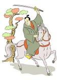 Guerriero del samurai con posizione di combattimento della spada di katana Fotografia Stock Libera da Diritti