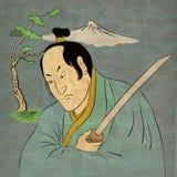 Guerriero del samurai con posizione di combattimento della spada di katana Fotografie Stock