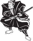 Guerriero del samurai con posizione di combattimento della spada di katana Immagine Stock