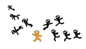 Guerriero del segno dell'uomo di Ninja Immagini Stock