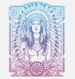 Guerriero della donna del nativo americano con la struttura tribale Illustrazione di vettore per le magliette Fotografia Stock