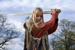 Guerriero della ragazza del Vichingo Immagini Stock Libere da Diritti