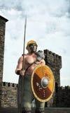 Guerriero e castello celtici illustrazione di stock