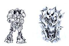 Guerriero ed il cranio II. Fotografie Stock