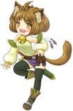 Guerriero femminile del gatto di fantasia nello stile giapponese dell'illustrazione di manga, Fotografia Stock Libera da Diritti