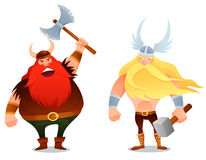 Guerriero furioso di vichingo ed il dio antico Thor Immagini Stock Libere da Diritti