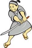 Guerriero giapponese del samurai con la spada Fotografie Stock Libere da Diritti