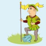 Guerriero medievale del fumetto con la bandiera illustrazione vettoriale