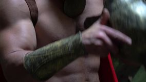 Guerriero medievale nel legno stock footage