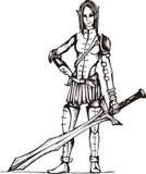 Guerriero pericoloso della ragazza dell'elfo Fotografia Stock
