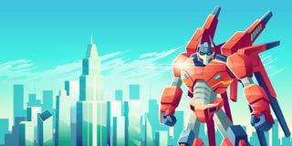 Guerriero straniero del robot nel vettore del fumetto della metropoli illustrazione di stock