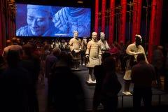 Guerriers chinois de terre cuite au musée de Moesgaard, Aarhus, Danemark Images stock