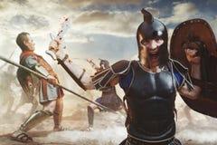 Guerriers du grec ancien combattant dans le combat Photographie stock