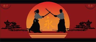 guerriers japonais de crépuscule Photographie stock libre de droits