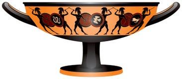 Guerriers sur la tasse de boissons de Grèce antique Kylix Image libre de droits