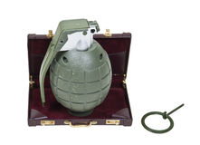 Guerrilla Marketing. Shown by a green retro military grenade in a briefcase - path included Royalty Free Stock Photos