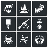 Guerrillas warrior icons set. Vector Illustration. Stock Photography