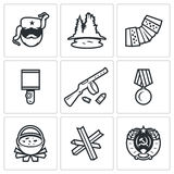 Guerrillas warrior icons set. Vector Illustration. Royalty Free Stock Photo