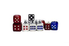 Guess with Dices. Guess game with dices of diferent colors stock image