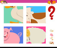 Guess farm animals activity game vector illustration