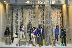 Guess fashion 2011. Guess boutique displaying their winter kids collection for 2011 in Italy Royalty Free Stock Images