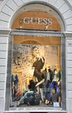 Guess fashion shop in Italy. Guess  is a luxury American name-brand clothing line. Guess also markets other fashion accessories besides clothes, such as watches Stock Photos